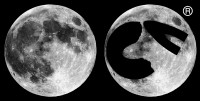 Picture comparing a photograph of the full Moon with cvmoon's registered trademark logo.